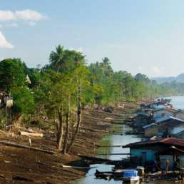 Traditional floating village on the Mahakam River